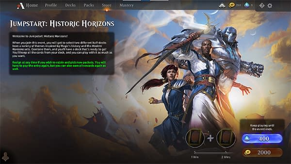 Wizards of the Coast's lobby for Jumpstart: Historic Horizons, part of Magic Arena, Magic: The Gathering's online interface.
