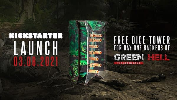 The dice tower offered for day-one backers of Green Hell: The Board Game, an upcoming adaptation of the open-world survival simulation video game for the tabletop, by Galaktus Games.