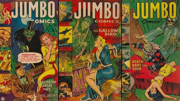 Jumbo Comics covers by Maurice Whitman.