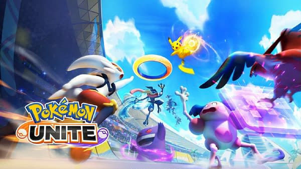 The key art for Pokémon Unite, a game for the Nintendo Switch, developed by The Pokémon Company, Tencent, and TiMi.