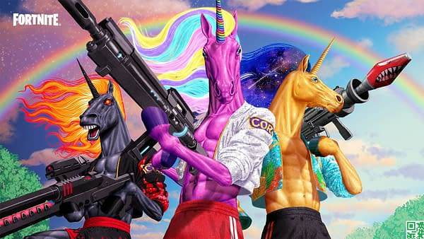 Oh, and there's unicorn men. That pink one is called Fabio Sparklemane. Courtesy of Epic Games.