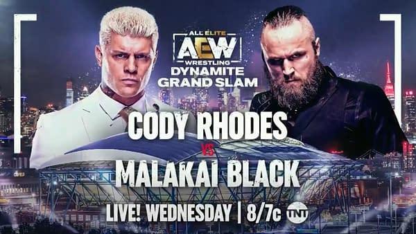 AEW Dynamite Grand Slam: Cody Rhodes takes on Malakai Black