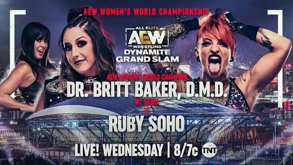 AEW Dynamite Grand Slam: Ruby Soho challenges Dr. Britt Baker DMD for the AEW Women's World Championship