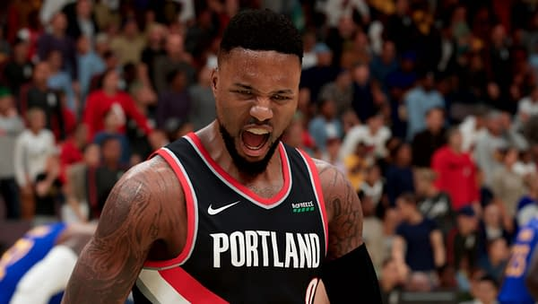 A look at Damian Lillard yelling during a game, courtesy of 2K Games.