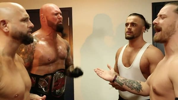 The Good Brothers and FinJuice argue backstage at Impact Wrestling, resulting in a Tag Team Championship match at Sacrifice.