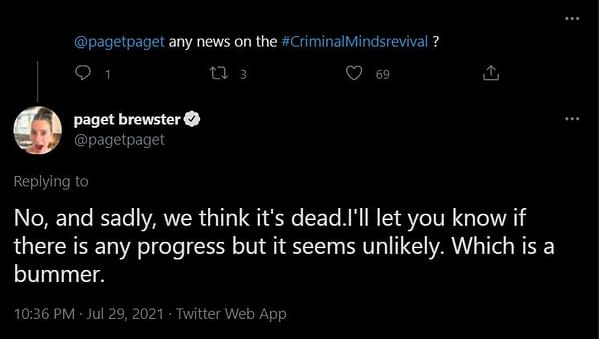 Paget Brewster's Twitter Eulogy for Criminal Minds May be Premature