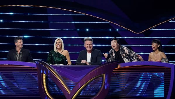 Robin Thicke, Jenny McCarthy, guest panelist Gordon Ramsay, Ken Jeong, and Nicole Scherzinger on The Masked Singer, courtesy of FOX.