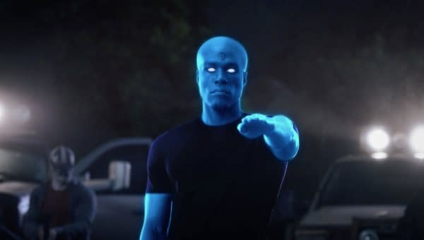 The Seventh Kavalry went looking for Dr. Manhattan, and they found him on Watchmen (courtesy of HBO).