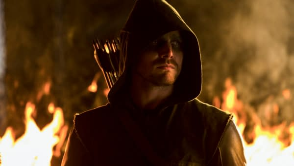 "Arrow -- ""Burned"" -- Image AR110b_7476b -- Pictured: Stephen Amell as Arrow -- Photo: Jack Rowand/The CW -- ©2012 The CW Network. All Rights Reserved"
