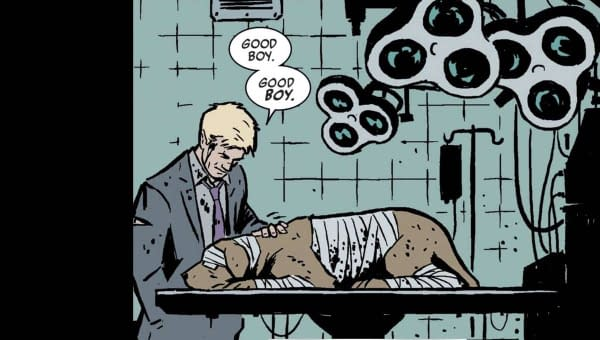 Hawkeye: Clint Barton with Lucky/Pizza Dog (Image: Marvel Comics)