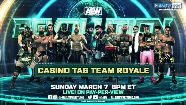 AEW tag teams with nothing better to do will compete in a Casino Tag Team Royale for a shot at the AEW Tag Team Championships.