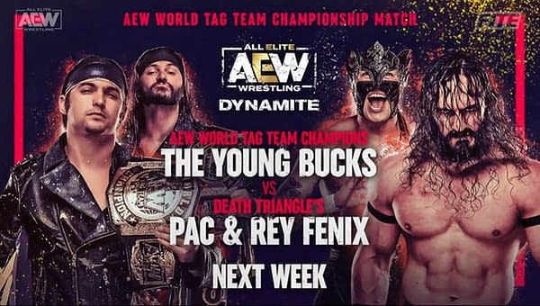 The Young Bucks will defend the AEW Tag Team Championships against Death Triangle's Pac and Rey Fenix on AEW Dynamite next week.