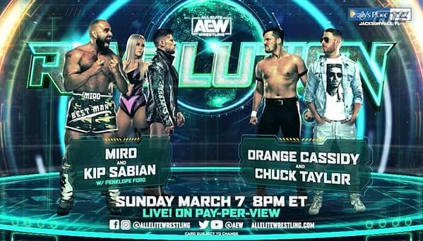 Miro and Kip Sabian face Orange Cassidy and Chuck Taylor in a good old fashioned tag team match. No crazy stipulations. Just wrestling.