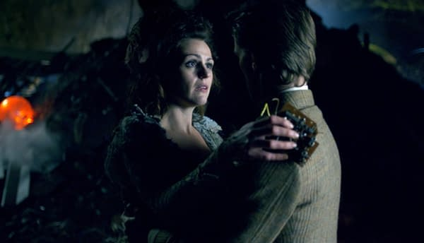 The TARDIS leans on the Doctor as the situation turns dire on Doctor Who, courtesy of BBC Studios.