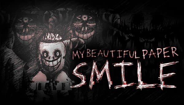 The eerie key art for My Beautiful Paper Smile, an indie psychological-horror game by Two Star Games and Vicarious Publishing.