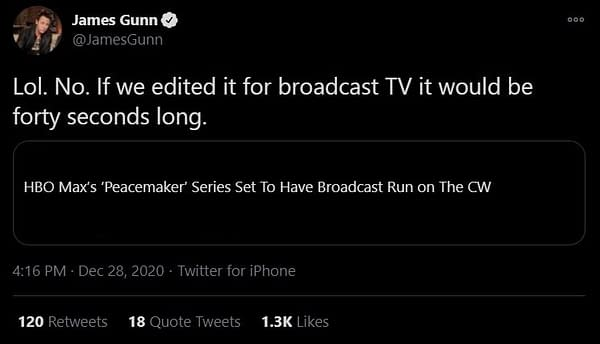 Peacemaker series creator James Gunn responds to rumors about the HBO Max series. (Image: screencaps)
