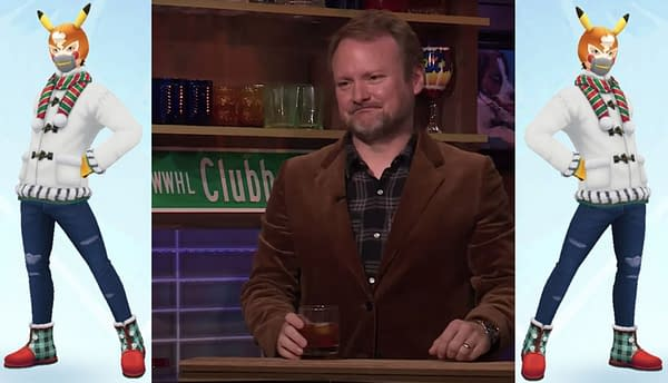 Rian Johnson and his Pokémon GO avatar. Credit: Watch What Happens Live with Andy Cohen and Niantic