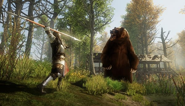 A screenshot from New World, an MMO by Amazon Games set at the end of the Age of Exploration. In the screenshot, a character attacks a large bear.