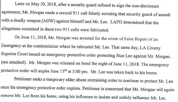 Stan Lee's Restraining Orders Allege Keya Morgan Swatted the Police, Committed Elder Abuse