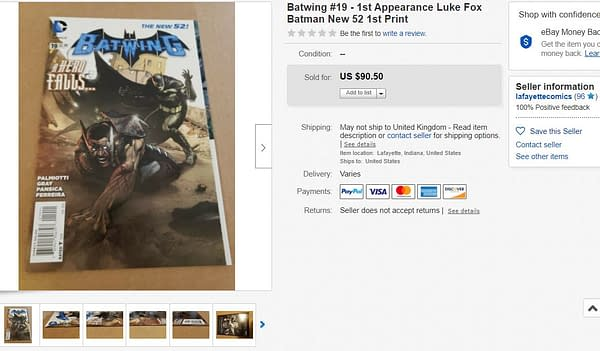 Batwing #16 - First Appearance of Luke Fox, The New Batman, Hits $66 on eBay