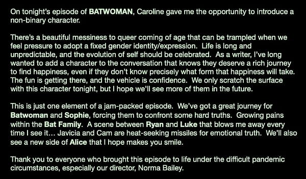 Batwoman S02E05 Writer Posts on Introducing Non-Binary Character