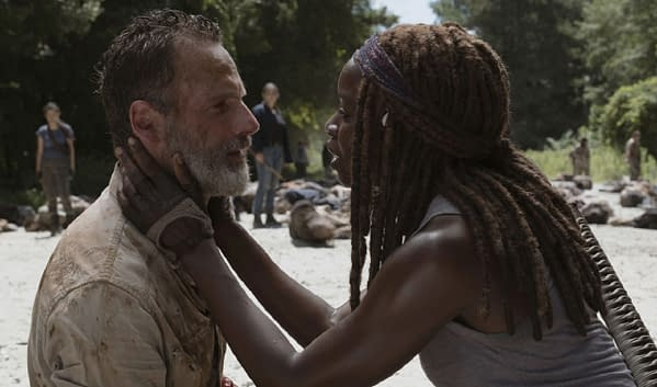 Rick and Michonne on The Walking Dead Season 9 (Image: AMC Networks)