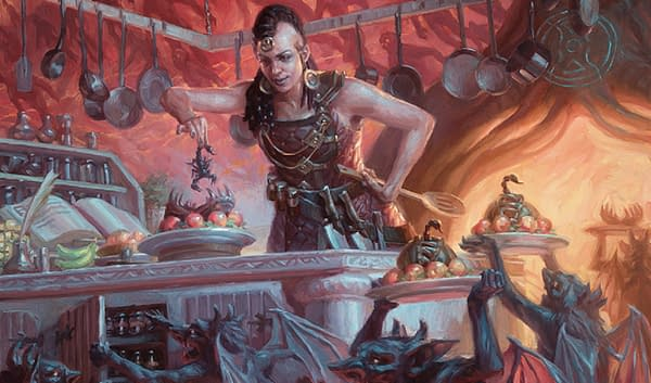 The full art for Asmoranomardicadaistinaculdacar, a new legendary creature card from Magic: The Gathering's Modern Horizons 2 expansion set. Illustrated by Ryan Pancoast.