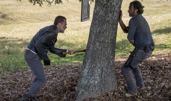Rick and Negan square off on The Walking Dead, courtesy of AMC.