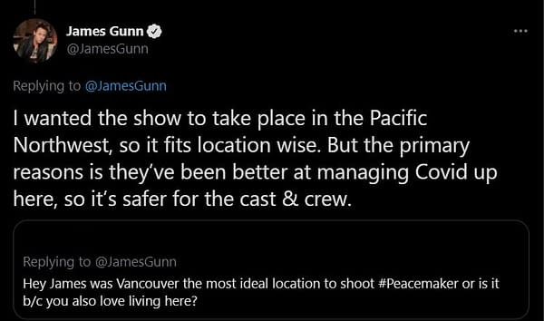 Peacemaker: James Gunn Offers Reasons for Series Filming in Vancouver