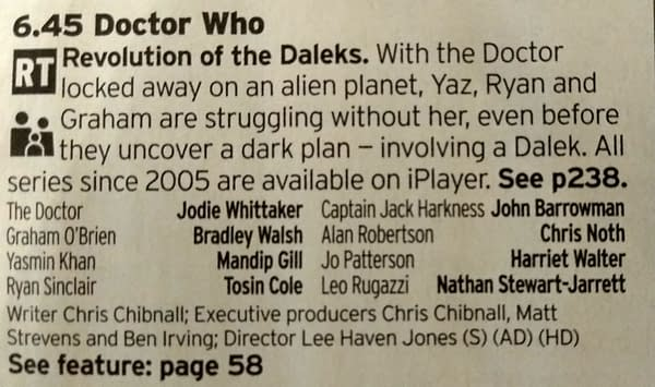 Radio Times Listing For Doctor Who On New Year's Day