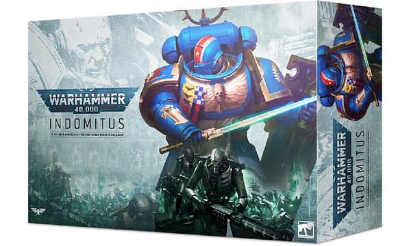 The box for Indomitus, a boxed set for the ninth edition of Warhammer 40,000 by Games Workshop.