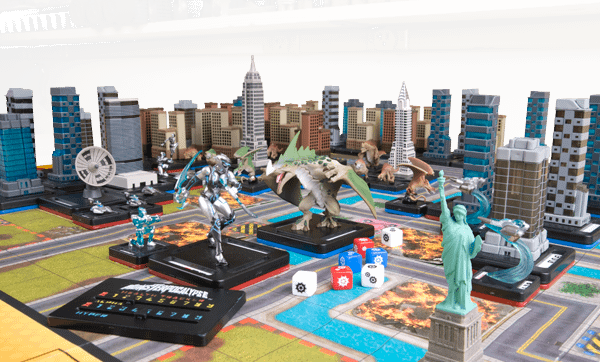 An array of the various types of models and counters you'll find in a game of Monsterpocalypse.