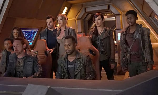 THE ORVILLE: L-R: Peter Macon, Seth MacFarlane, Adrianne Palicki, J Lee, Jessica Szohr, Scott Grimes, guest star Kai Wener, guest star Brian Tanner and Penny Johnson Jerald in the ÒRoad Not TakenÓ season finale episode of THE ORVILLE airing Thursday, April 18 (9:00-10:00 PM ET/PT) on FOX. ©2018 Fox Broadcasting Co. Cr: Kevin Estrada/FOX