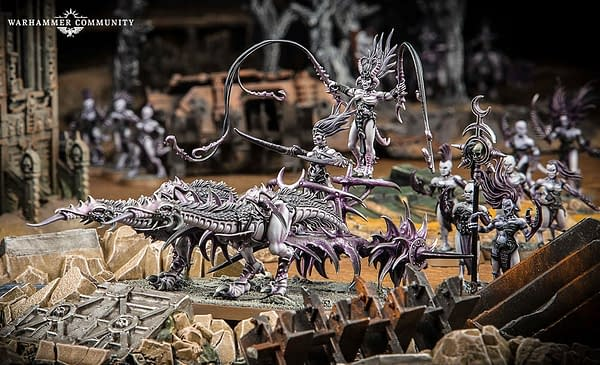A shot of the Daemons of Slaanesh army for Warhammer 40,000 by Games Workshop.