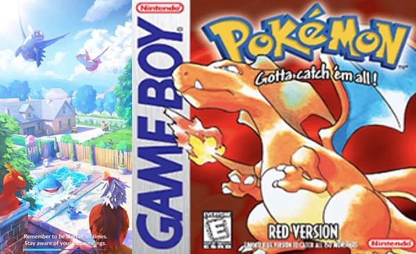 Pokémon GO load screen and the cover of Pokémon Red Version of the main series games. Credit: Niantic, Game Freak