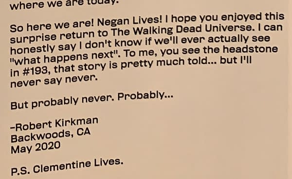 Does the new Negan Lives comic reveal that there are more Walking Dead games on the way?