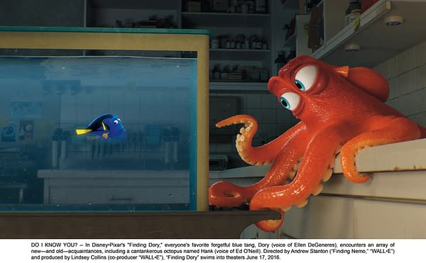 """DO I KNOW YOU? -- In Disney•Pixar's """"Finding Dory,"""" everyone's favorite forgetful blue tang, Dory (voice of Ellen DeGeneres), encounters an array of new—and old—acquaintances, including a cantankerous octopus named Hank (voice of Ed O'Neill). Directed by Andrew Stanton ("""