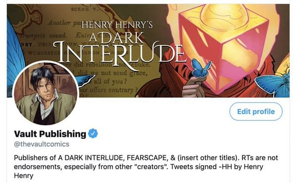 Henry Henry Took Over Vault Comics Twitter to Promote A Dark Interlude