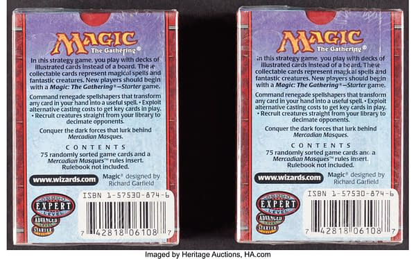 The backs of the pair of tournament packs from Mercadian Masques, an expansion set for Magic: The Gathering. Currently available at auction on Heritage Auctions' website.