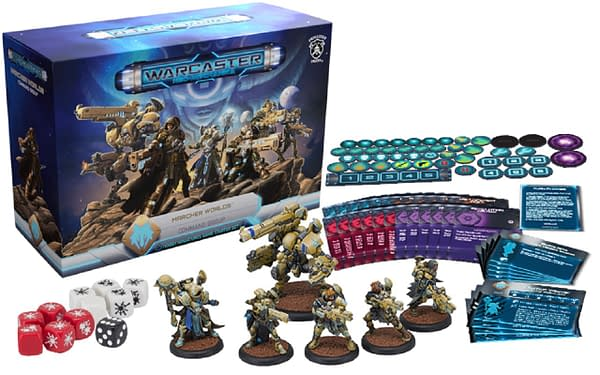 The array for one of the Warcaster: Neo-Mechanika starter sets.