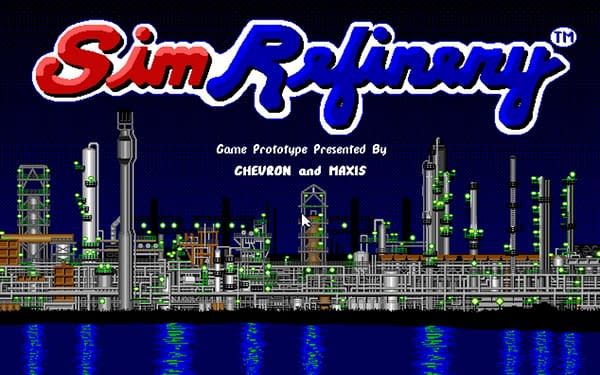 A look at the title screen for SimRefinery, created by Maxis.