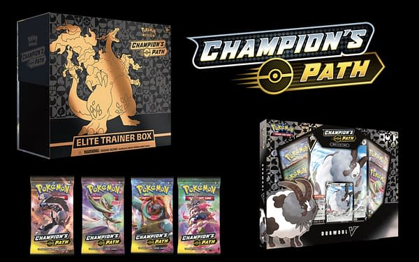 The Pokémon TCG Champion's Path Expansion merchandise. Credit: Pokémon Company International