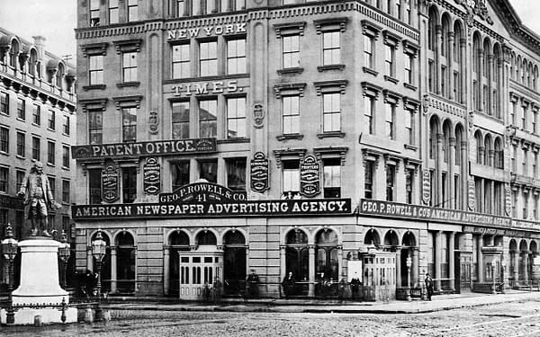 Scene of the match among dime novel and comic editors: The New York Times Building, Park Row, circa 1873. Tim Flynn's Billiard Room basement entrance visible foreground right.