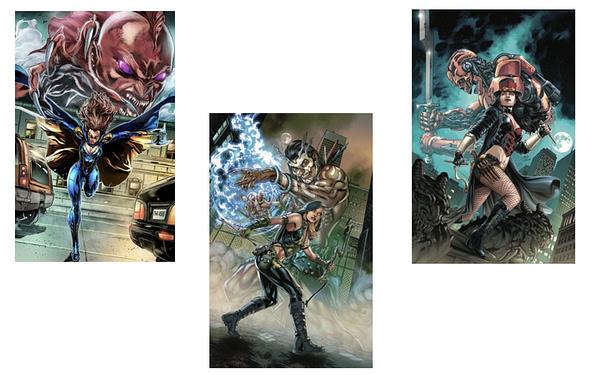 Van Helsing, Robyn Hood, & Belle covers. Credit: Zenescope