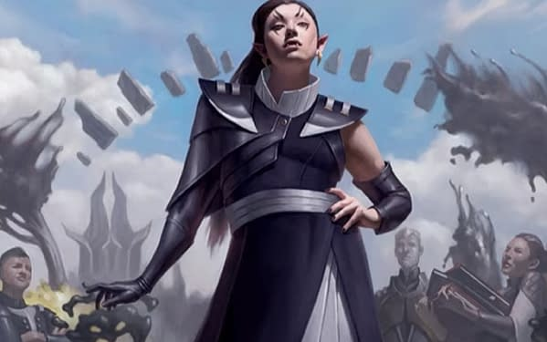 The art for Felisa, Fang of Silverquill, a card from Magic: The Gathering's Commander 2021 release. Illustrated by Sara Winters.