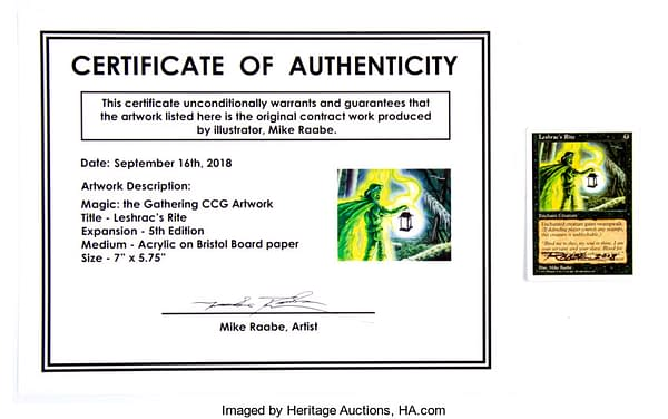 The certificate of authenticity and signed Magic: The Gathering card to accompany the artwork by Max Raabe. This is available on auction at Heritage Auctions right now.