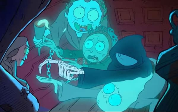 """Rick and Morty has its own unique take on """"A Christmas Carol."""" (Image: Adult Swim screencap)"""