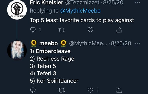 A tweet among several by Ally Warfield (@MythicMeebo) about how much she dislikes playing against Embercleave.
