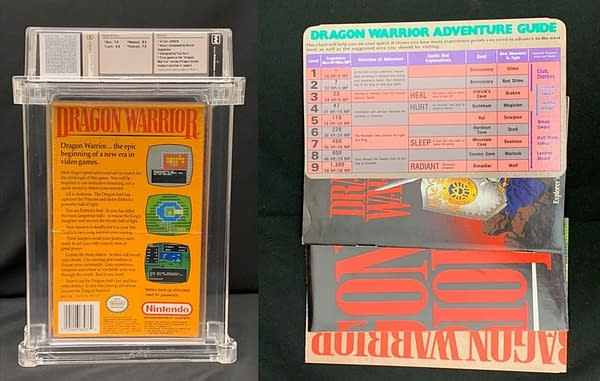 The rear of the graded box for this auction, a copy of Dragon Warrior for the Nintendo Entertainment System. Also pictured is a brief guide to the game.
