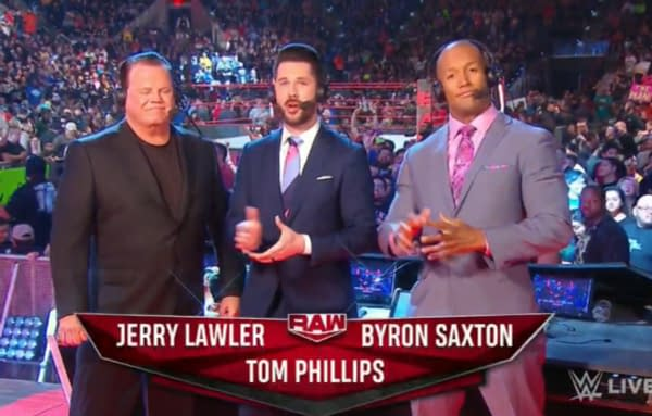 Tom Phillips leading the announce team on WWE Raw.